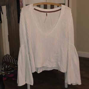 Free people white flared sleeved sweater